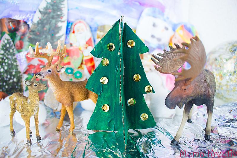 Winterlandschaft zu Weihnachten basteln mit Kindern - DIY Weihnachtsdeko selber machen