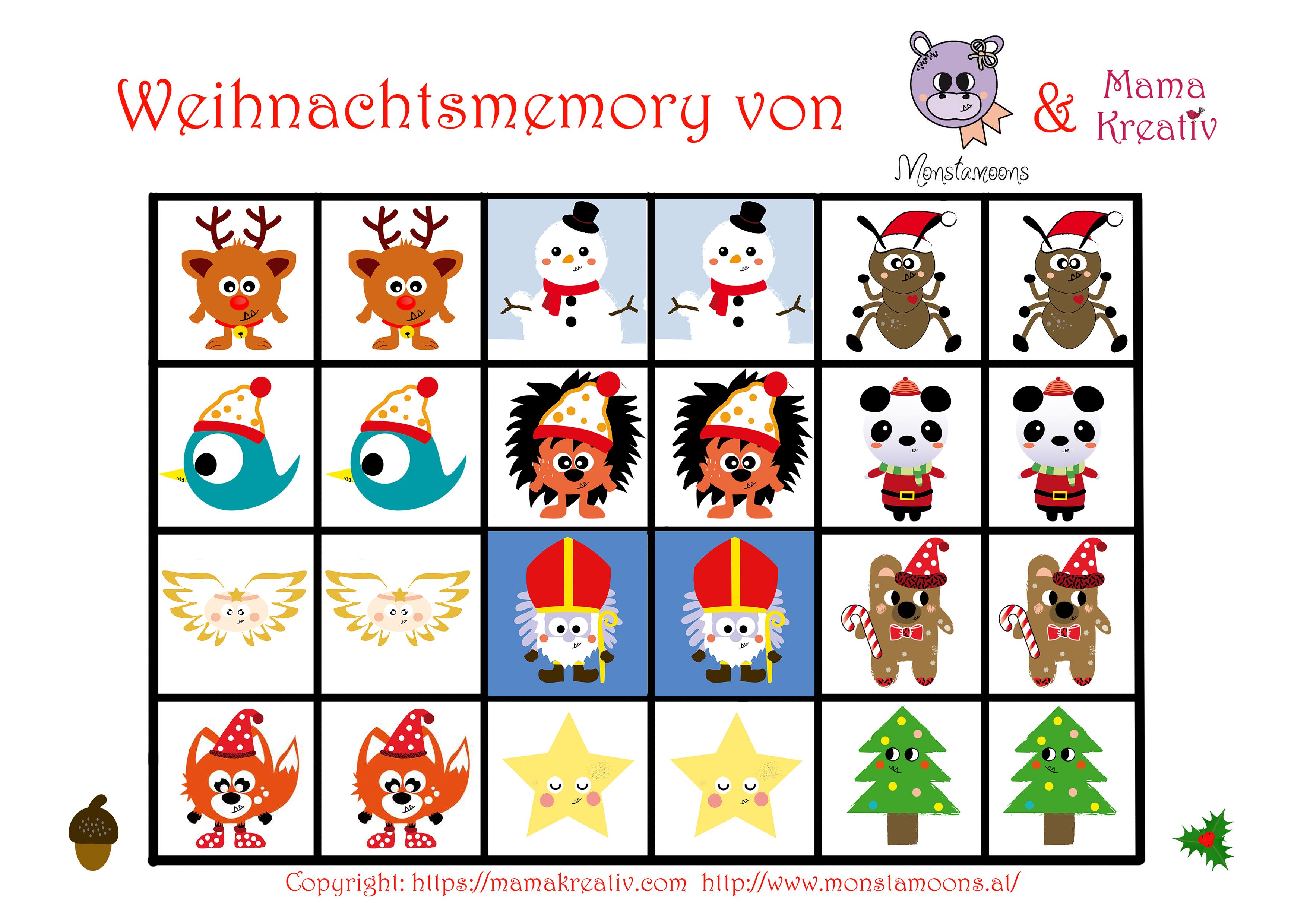 Weihnachtsmemory Selber Machen Mit Monstamoons Freebie Und