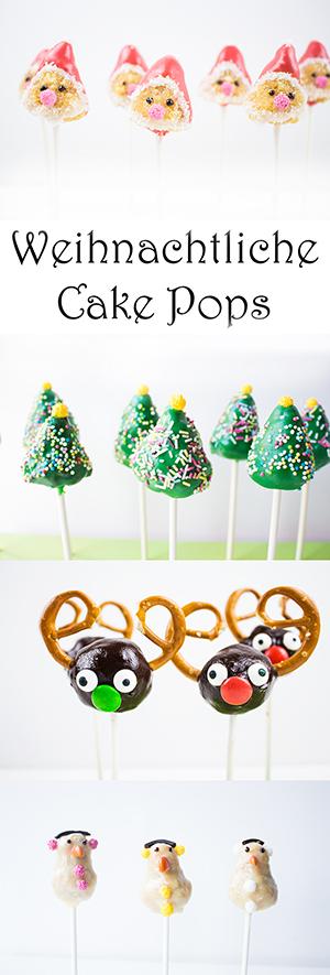 Cake Pops zu Weihnachten selber machen: Weihnachtsmann, Tannenbaum, Rentier, Schneemann - Weihnachtliche Rezepte backen