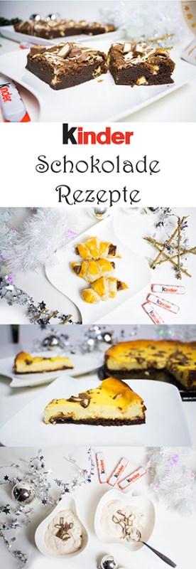 4 geniale und einfache Rezepte mit kinder Schokolade - Käsekuchen, Brownies, Eis, Hörnchen aus Blätterteig