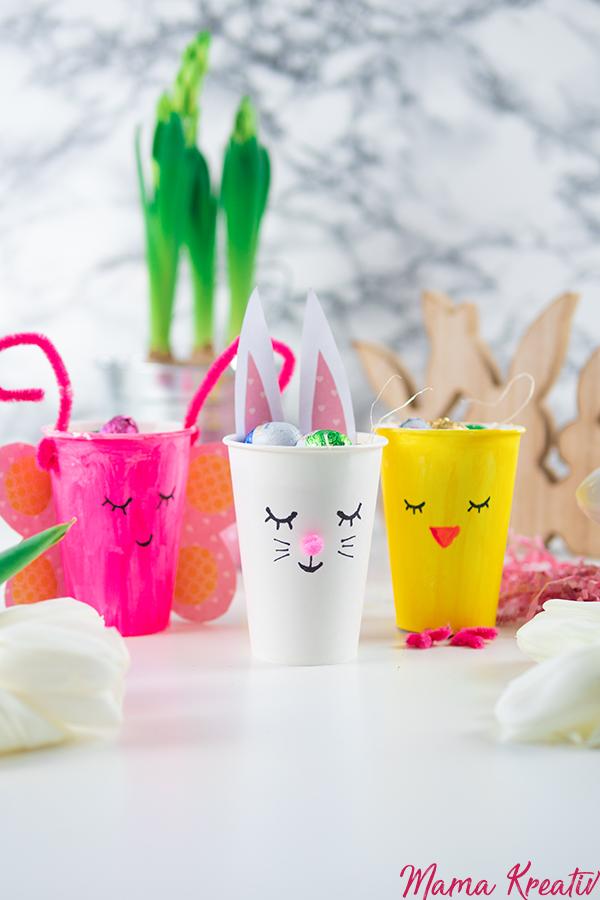 Osternest basteln Hase, Küken und Schmetterling aus Pappbechern - 4 einfache Upcycling Ideen zum basteln mit Kindern und Kleinkindern