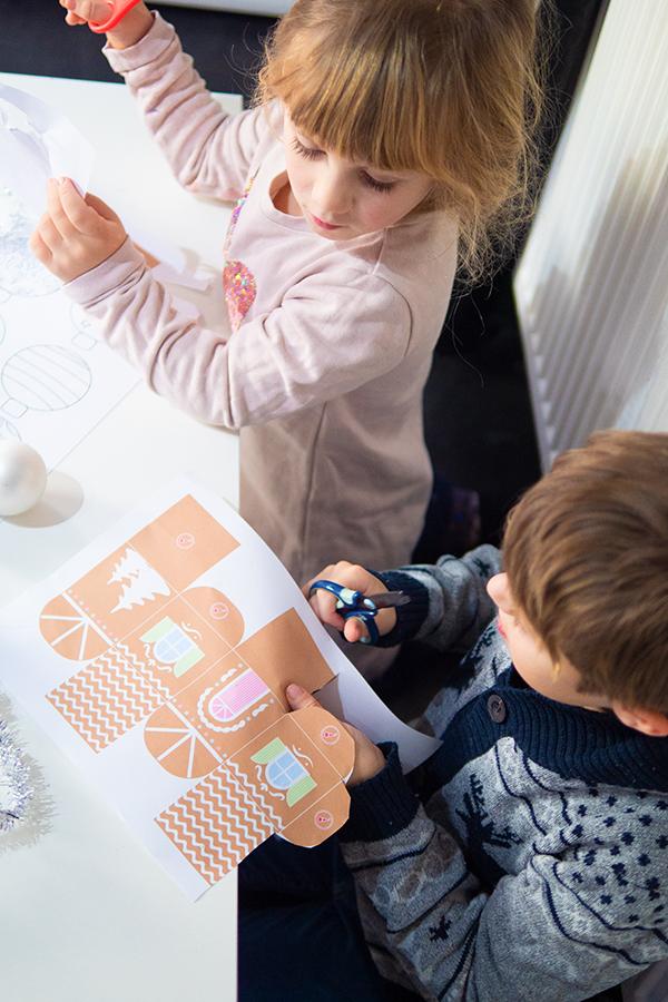 Basteln mit Kindern zu Weihnachten mit Vorlagen Lebkuchenhaus
