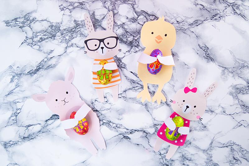 Basteln mit Kindern zu Ostern Vorlagen - Osterbasteln Ideen - Osternest basteln - Hase, Küken, Blume, Schaf Bastelvorlage - Osterhase Girlande - Eierbecher, Muffin Topper