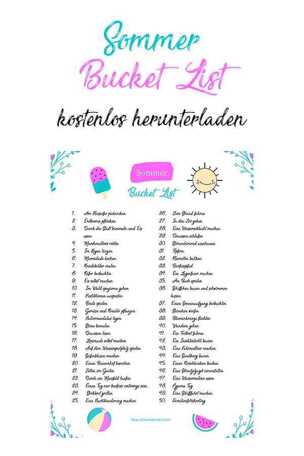 Sommer Bucket List für Familien mit Kindern kostenlos herunterladen Ideen gegen Langweile in den Ferien
