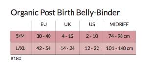 Carriwell Belly Binder dydžių lentelė