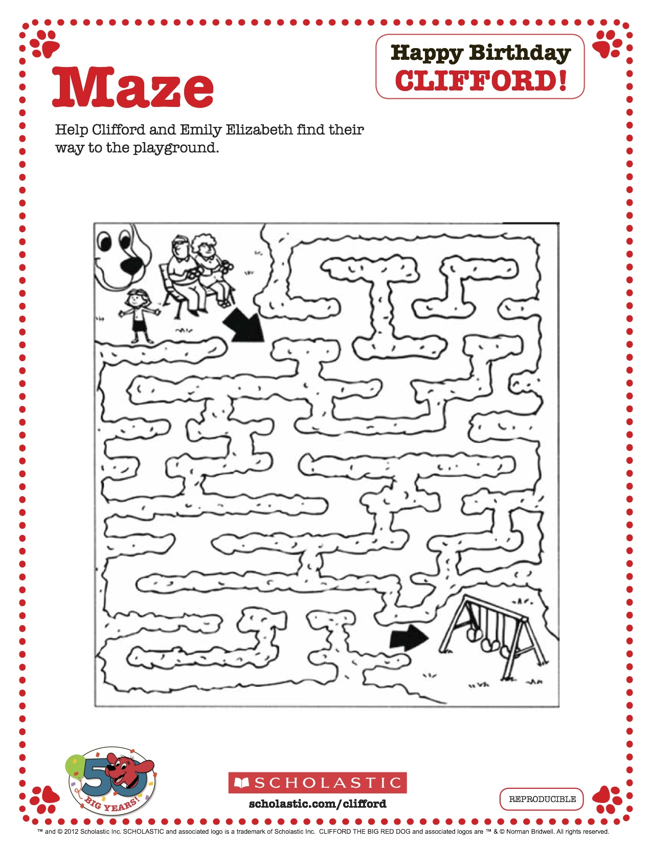 Clifford Printable Maze From Scholastic