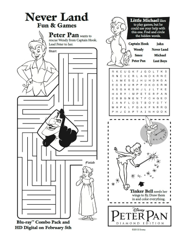 Disney Peter Pan & Tinker Bell Printable Activity Sheet