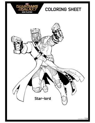 Star-Lord Guardians of The Galaxy Printable Coloring Sheet