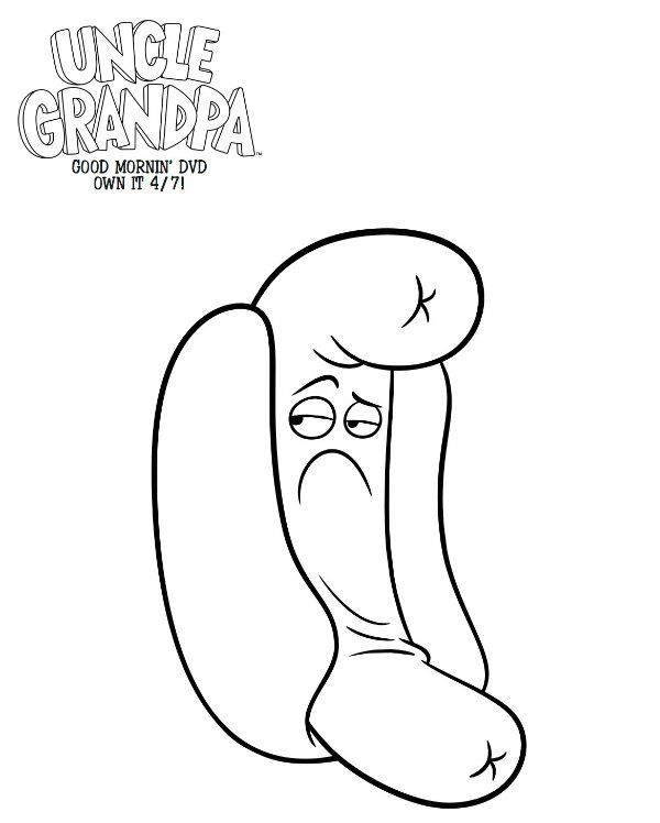 Free Printable Uncle Grandpa Hot Dog Person Coloring Page