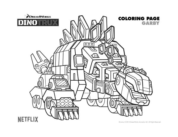 Free Dreamworks Dinotrux Garby Printable Coloring Page