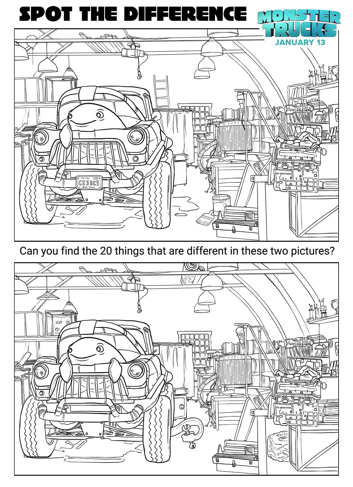 Monster Trucks Spot The Differences Coloring Page