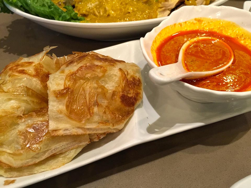 Roti Canai - Malay bread with spicy curry sauce