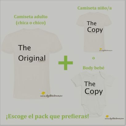 Pack de dos camisetas o de camiseta y body (Una de adulto y otra para niño, ya sea body o camiseta)