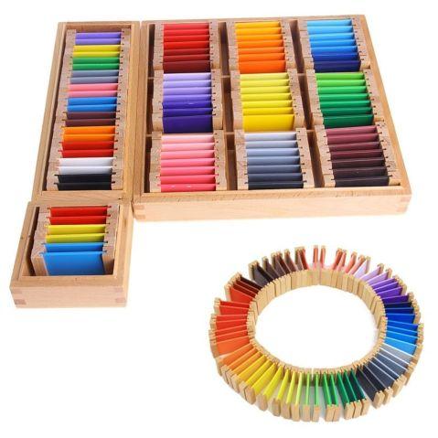 Montessori low-cost. Caja con tablas de colores