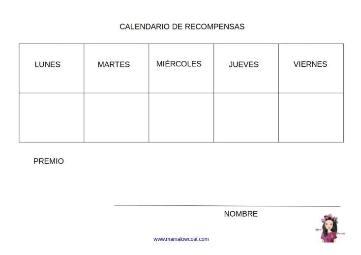 Calendario de recompensas blog