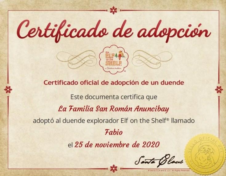 Certificado de adopción de Fabio