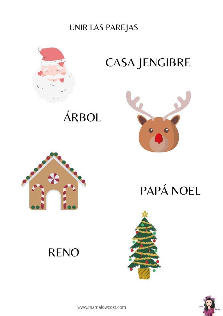 Unir palabras y dibujos Navidad