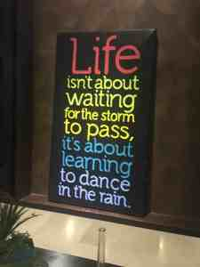 life isn't about waiting for the storm to pass it's about dancing in the rain
