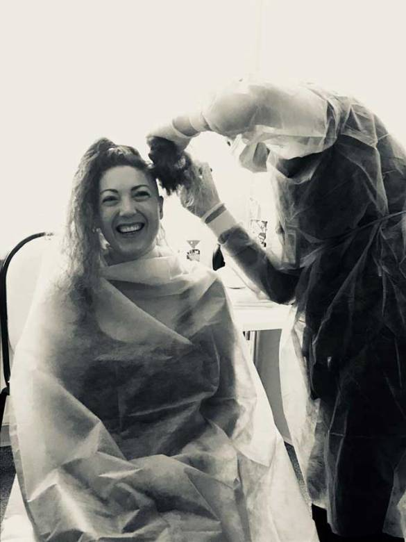 Day minus 8: Shaving party! Bye bye long hair…