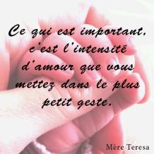 Ce qui est important, ,c'est l'intensité d'amour que vous mettez dans le plus petit geste. Mère Teresa