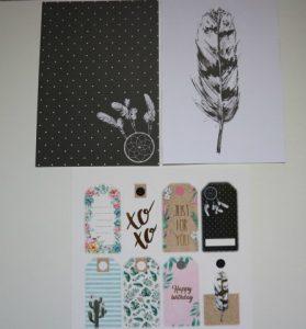 craftpakket zwart a5 en tags