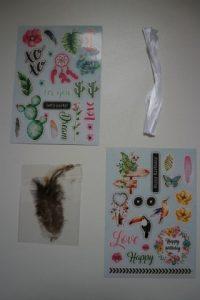 craftpakket zwart stickers en veren