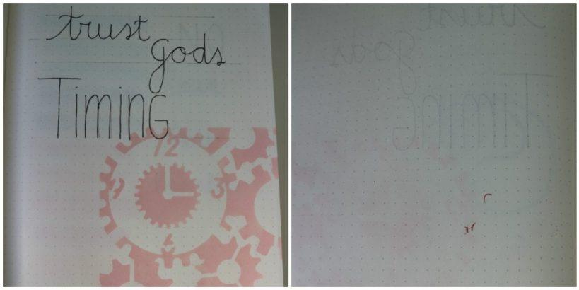 Mijn bijbel journal van MUS in de nieuwe lijn van bijbel journaling spullen die MUS heeft uitgebracht. Getest met verschillende (betaalbare) materialen. Voorbeeld Gods Timing
