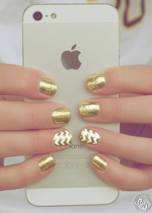 Chevron Gold Glitter