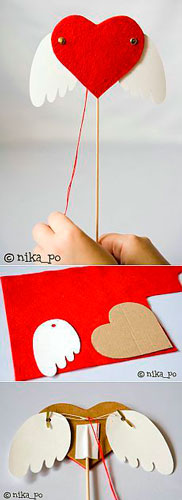поделка сердце с крыльями из бумаги