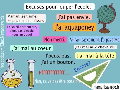 Top 5 De L Excuse Pour Louper L école Chut Maman Bavarde