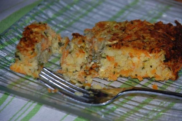 Gratin semoule, courgettes et carottes