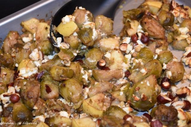 Choux de Bruxelles rôtis, pommes, feta