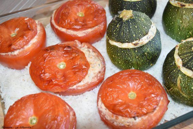 Tomates et courgettes farcies au fromage frais et maquereau2