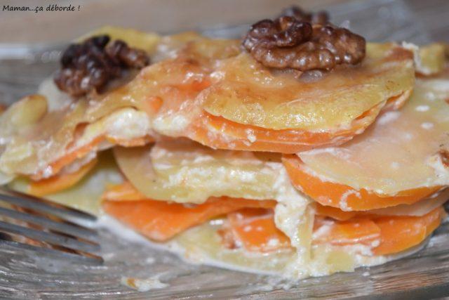 Gratin de pomme de terre, carotte et noix