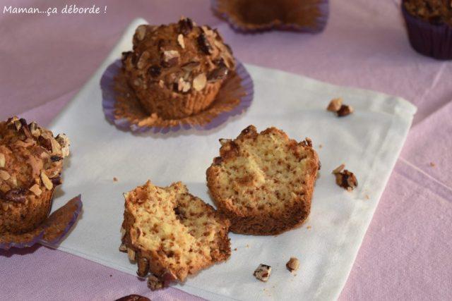 Muffins au chocolat blanc et noix de pécan caramélisées