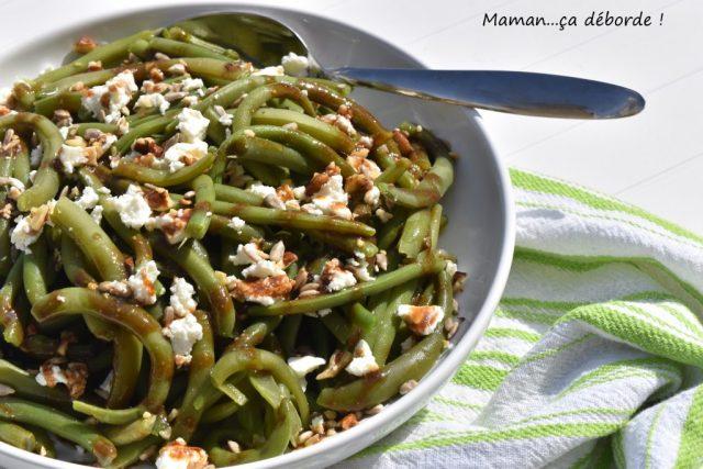 Salade de haricots verts, feta et graines