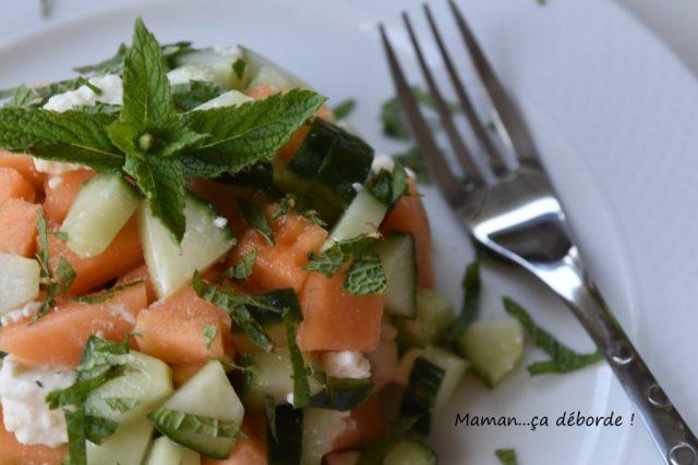 Tartare melon, concombre, feta et menthe