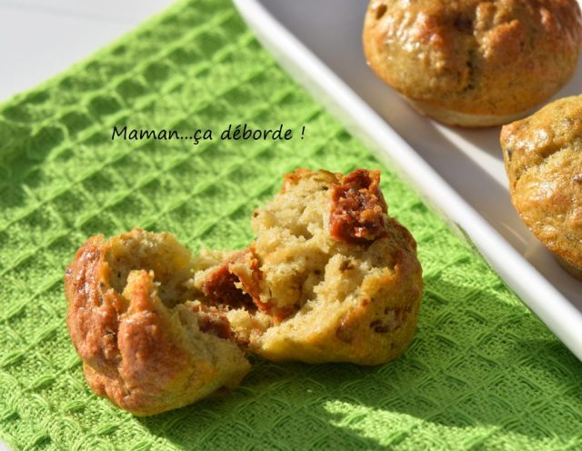 Mini muffins pesto, tomate séchée, parmesan et blanc d'oeuf