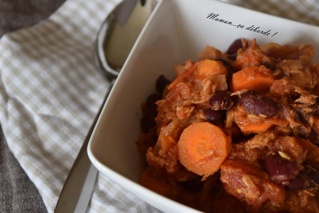 Haricots rouges et carottes sauce au thon