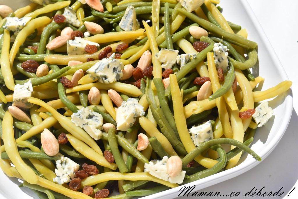 Salade d'haricots verts, amande et bleu d'auvergne