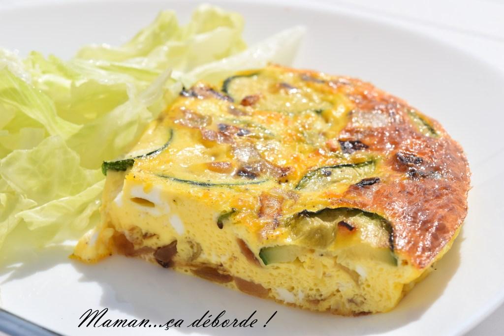 Omelette au four courgette, feta et oignon