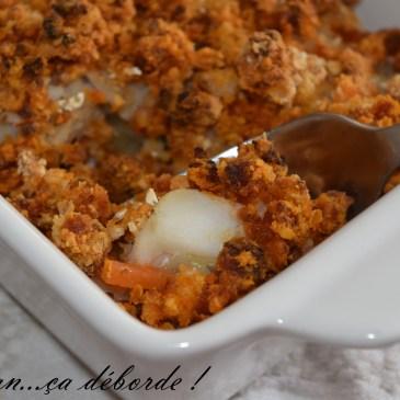 Filet de cabillaud sur sa julienne de légumes et crumble de chorizo
