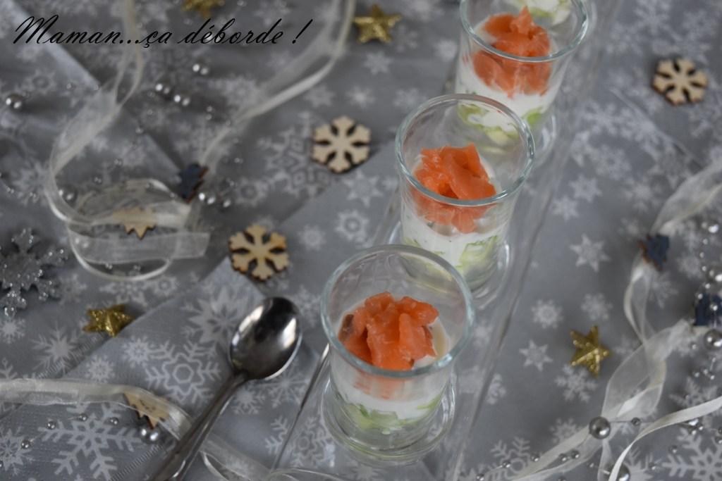 Verrine saumon, concombre et sauce au yaourt