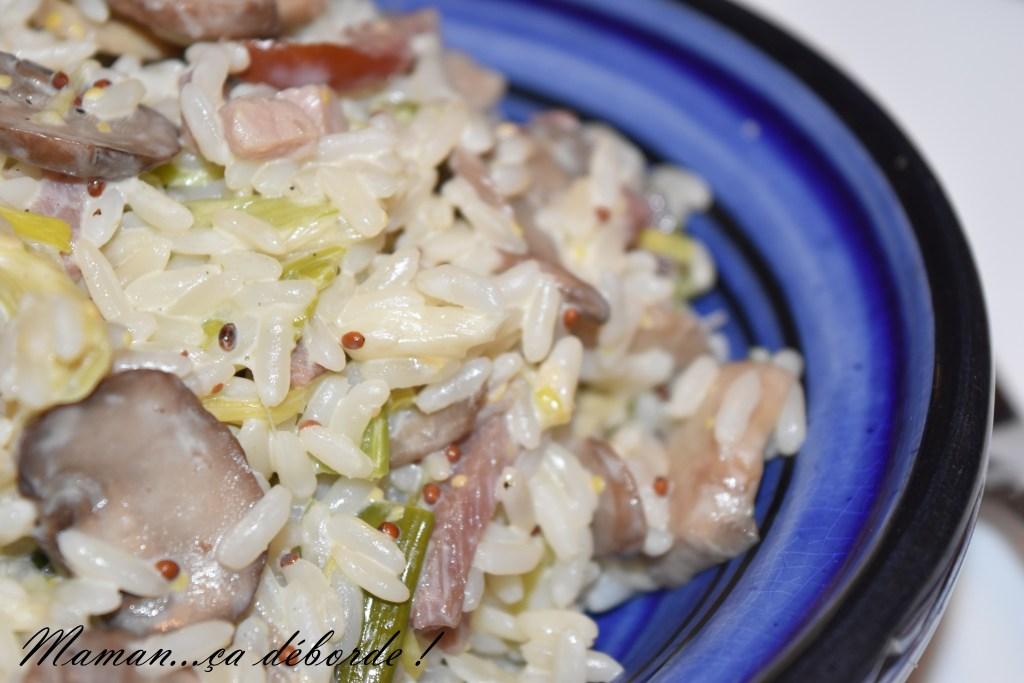 Riz crémeux poireau, champignon et bacon