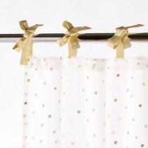 Rideau à nouettes en coton blanc à pois