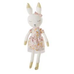 Doudou lapin en coton rose