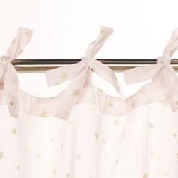 Rideau à nouettes en coton rose motifs étoiles dorées
