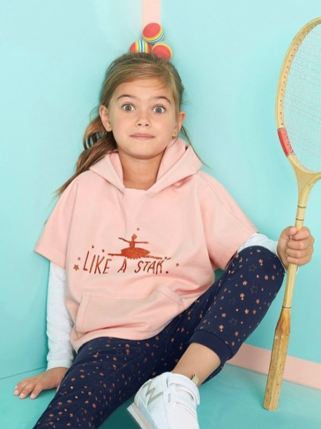 Ensemble fille sweat + T-shirt + pantalon - rose pâle