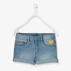 Short en jean fille imprimé pois - bleu clair delavé