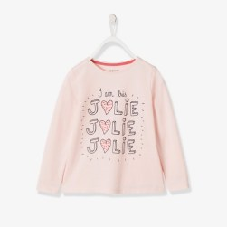T-shirt fille imprimé irisé - rose clair